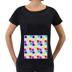 Snowflake Pattern Repeated Women s Loose-Fit T-Shirt (Black)