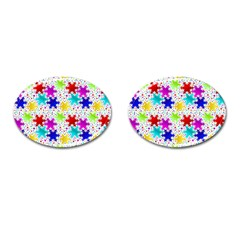 Snowflake Pattern Repeated Cufflinks (oval)