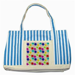 Snowflake Pattern Repeated Striped Blue Tote Bag