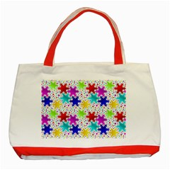 Snowflake Pattern Repeated Classic Tote Bag (red)
