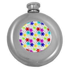 Snowflake Pattern Repeated Round Hip Flask (5 oz)