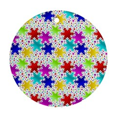 Snowflake Pattern Repeated Round Ornament (two Sides)