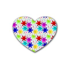 Snowflake Pattern Repeated Heart Coaster (4 pack)