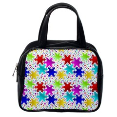Snowflake Pattern Repeated Classic Handbags (one Side)