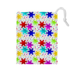 Snowflake Pattern Repeated Drawstring Pouches (large)