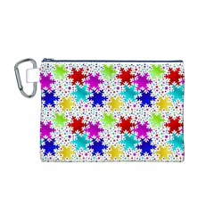 Snowflake Pattern Repeated Canvas Cosmetic Bag (M)