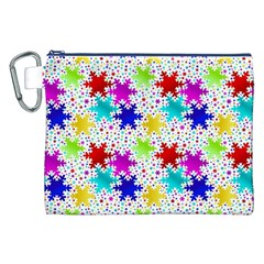 Snowflake Pattern Repeated Canvas Cosmetic Bag (XXL)