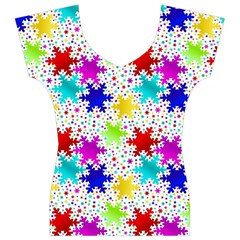 Snowflake Pattern Repeated Women s V-Neck Cap Sleeve Top