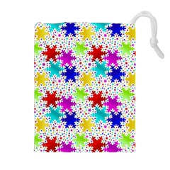 Snowflake Pattern Repeated Drawstring Pouches (Extra Large)