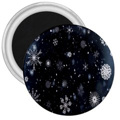Snowflake Snow Snowing Winter Cold 3  Magnets