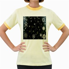 Snowflake Snow Snowing Winter Cold Women s Fitted Ringer T-Shirts