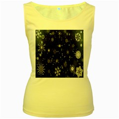 Snowflake Snow Snowing Winter Cold Women s Yellow Tank Top
