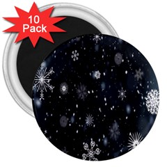 Snowflake Snow Snowing Winter Cold 3  Magnets (10 Pack)