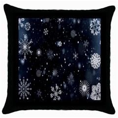Snowflake Snow Snowing Winter Cold Throw Pillow Case (Black)