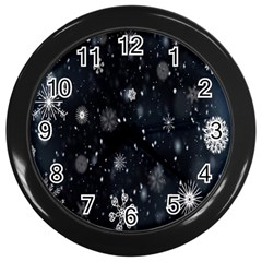 Snowflake Snow Snowing Winter Cold Wall Clocks (black)