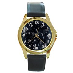 Snowflake Snow Snowing Winter Cold Round Gold Metal Watch