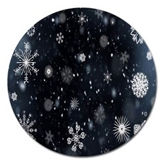 Snowflake Snow Snowing Winter Cold Magnet 5  (Round)
