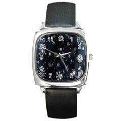 Snowflake Snow Snowing Winter Cold Square Metal Watch