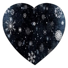 Snowflake Snow Snowing Winter Cold Jigsaw Puzzle (Heart)
