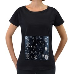 Snowflake Snow Snowing Winter Cold Women s Loose-Fit T-Shirt (Black)