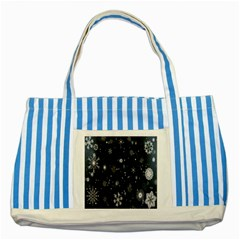 Snowflake Snow Snowing Winter Cold Striped Blue Tote Bag