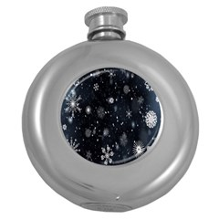 Snowflake Snow Snowing Winter Cold Round Hip Flask (5 Oz)