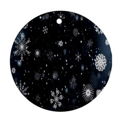 Snowflake Snow Snowing Winter Cold Round Ornament (two Sides)