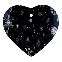 Snowflake Snow Snowing Winter Cold Heart Ornament (Two Sides)