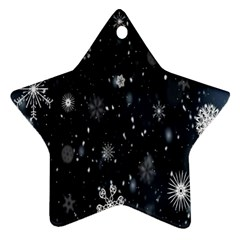 Snowflake Snow Snowing Winter Cold Star Ornament (Two Sides)