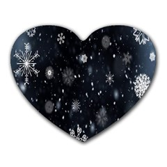 Snowflake Snow Snowing Winter Cold Heart Mousepads