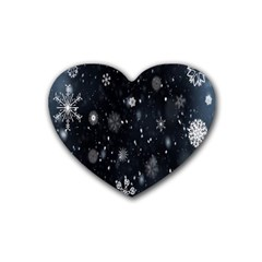 Snowflake Snow Snowing Winter Cold Rubber Coaster (heart)