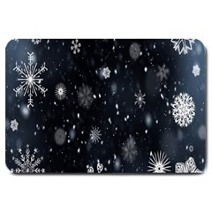 Snowflake Snow Snowing Winter Cold Large Doormat