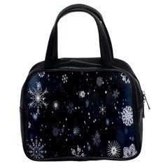 Snowflake Snow Snowing Winter Cold Classic Handbags (2 Sides)