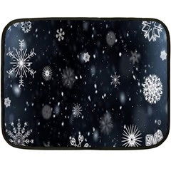 Snowflake Snow Snowing Winter Cold Double Sided Fleece Blanket (Mini)