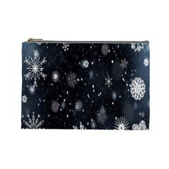 Snowflake Snow Snowing Winter Cold Cosmetic Bag (Large)