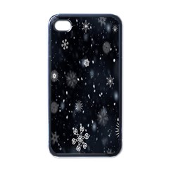 Snowflake Snow Snowing Winter Cold Apple iPhone 4 Case (Black)