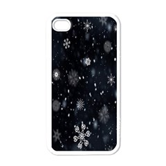 Snowflake Snow Snowing Winter Cold Apple Iphone 4 Case (white)