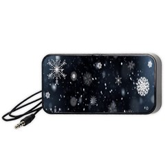 Snowflake Snow Snowing Winter Cold Portable Speaker (black)