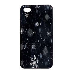 Snowflake Snow Snowing Winter Cold Apple iPhone 4/4s Seamless Case (Black)