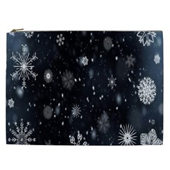 Snowflake Snow Snowing Winter Cold Cosmetic Bag (xxl)