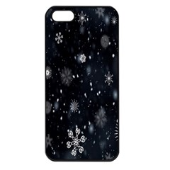 Snowflake Snow Snowing Winter Cold Apple Iphone 5 Seamless Case (black)