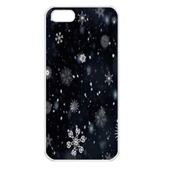 Snowflake Snow Snowing Winter Cold Apple iPhone 5 Seamless Case (White)