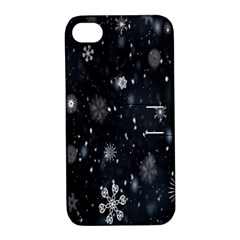Snowflake Snow Snowing Winter Cold Apple Iphone 4/4s Hardshell Case With Stand