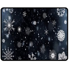 Snowflake Snow Snowing Winter Cold Double Sided Fleece Blanket (medium)
