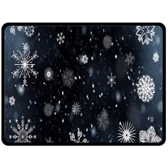 Snowflake Snow Snowing Winter Cold Double Sided Fleece Blanket (large)
