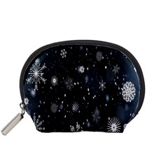 Snowflake Snow Snowing Winter Cold Accessory Pouches (small)
