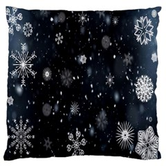 Snowflake Snow Snowing Winter Cold Large Flano Cushion Case (two Sides)