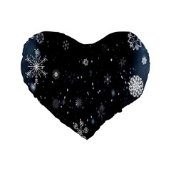 Snowflake Snow Snowing Winter Cold Standard 16  Premium Flano Heart Shape Cushions