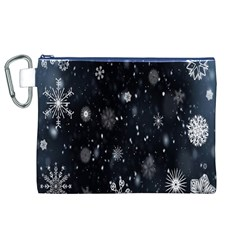 Snowflake Snow Snowing Winter Cold Canvas Cosmetic Bag (XL)