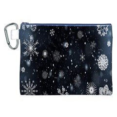 Snowflake Snow Snowing Winter Cold Canvas Cosmetic Bag (XXL)